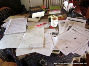 The dining-room extension - my two-metre desk is already overflowing.