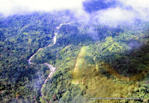 aerial isolated airstrip by the Sepik