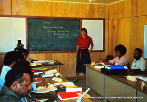 Trish Nicholson teaching in Vanimo, Papua New Guinea
