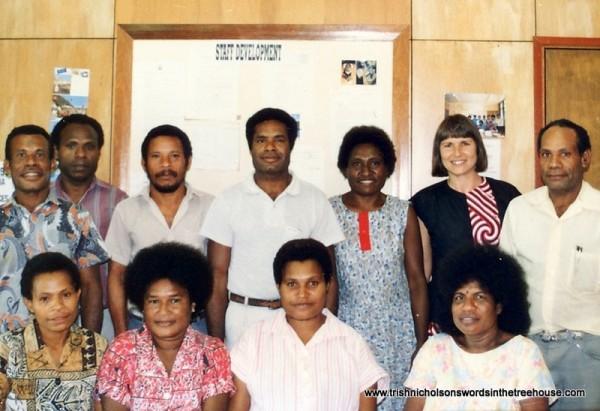 Trish Nicholson with work team in Papua New Guinea