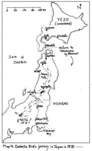 Isabella Bird's route in Japan 1878